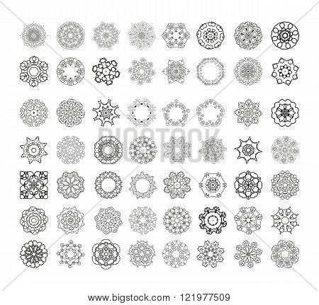 Circular pattern of traditional motifs and ancient oriental ornaments.