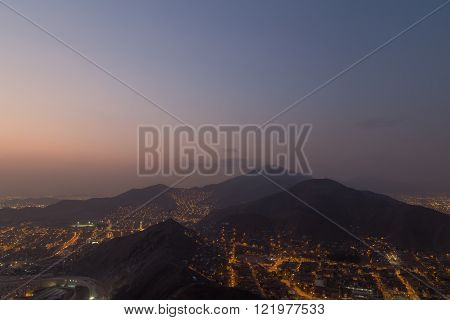 Lima view from Cerro San Cristobal by night
