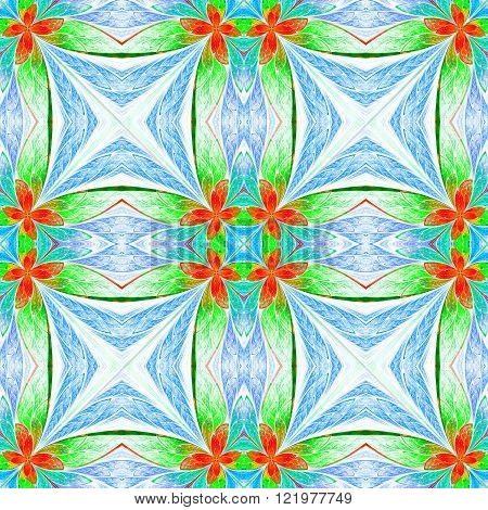 Symmetrical flower pattern in stained-glass window style on light. Green blue and red palette.