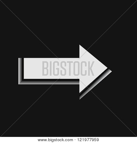 Pointer on the black background, vector,panel, pictogram,  previous, right,