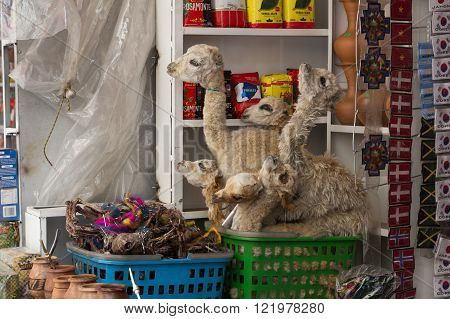 Dried baby llama foetuses in La Paz, Bolivia