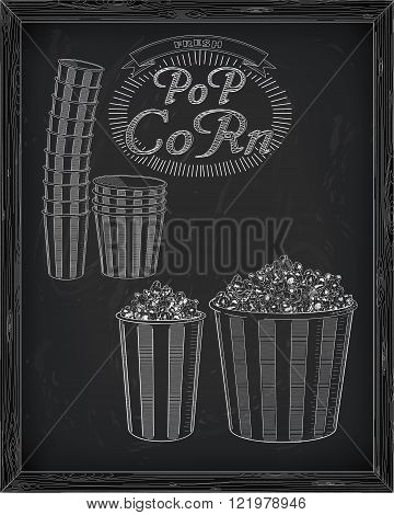 Beautiful Big And Small Striped Carton Box Full Of Delicious & Fresh Popcorn. Stack Of Small & Big P