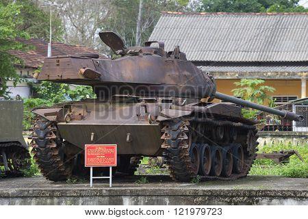 HUE, VIETNAM - JANUARY 08, 2016: American tank M41