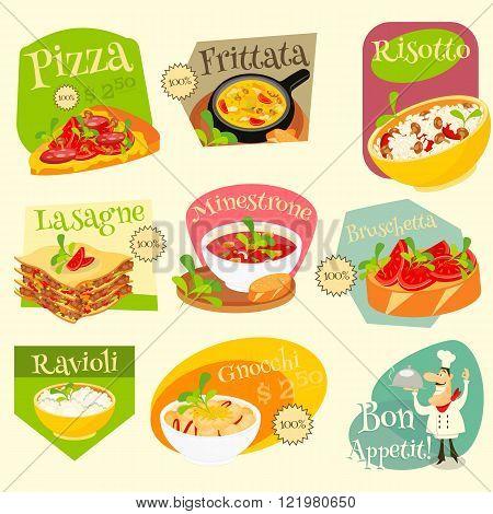 Italian Traditional Food Set. Italian Cuisine. Food Collection. Italian Food Labels Set. Vector Illustration.