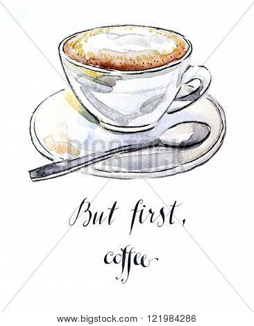 Watercolor hand drawn coffee cappuccino - Illustration