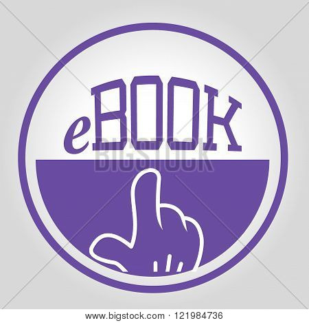 blue design icon e book with hand