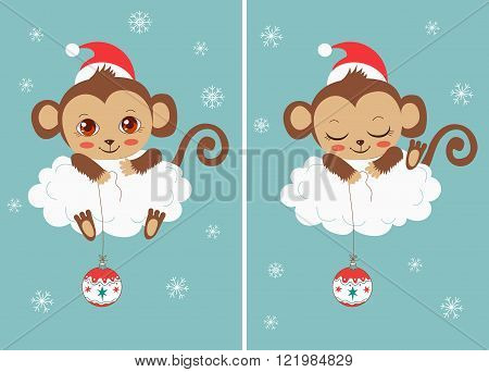 Cute Baby Monkeys With New Year Ball. Сhristmas Characters. Cartoon Vector Card. Funky Monkey. Monkey Meme. Monkey As Toy. Symbol Of Good Luck. A Successful Year. The Chinese Calendar Symbol.