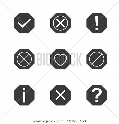 Set of icons and signs symbols help information check delete attention vector illustration