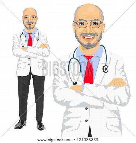mature medical male doctor with arms folded