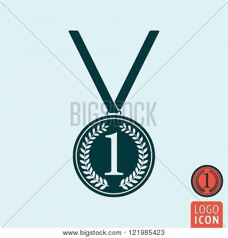 Medal icon. Medal symbol. Medal with wreath icon isolated. Vector illustration