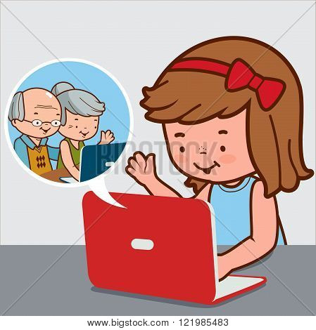 Vector Illustration of a girl sitting on her desk in front of her computer camera and chatting online with her grandparents.