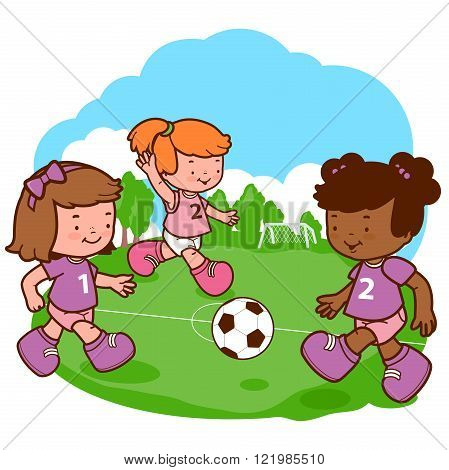 Vector illustration of little girls playing soccer.