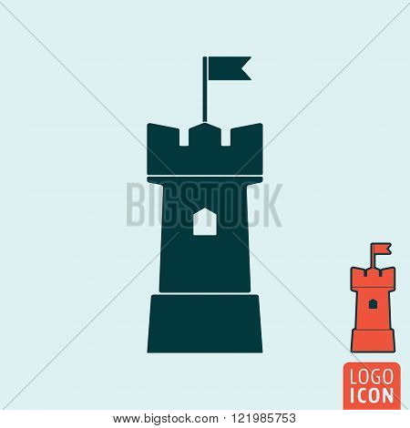 Tower icon. Tower symbol. Castle tower icon isolated. Vector illustration