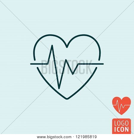Heartbeat icon. Heartbeat symbol. Cardiogram icon isolated. Vector illustration