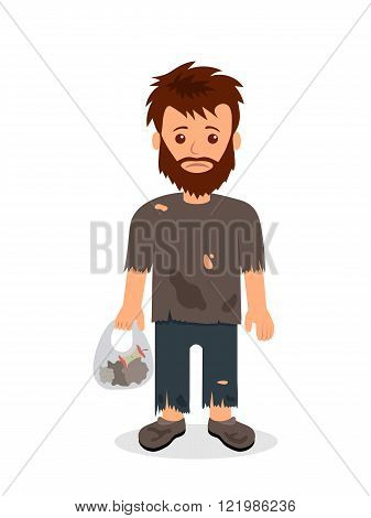 Homeless. Shaggy man in dirty rags and with a bag in his hand. Isolated character bum for infographi