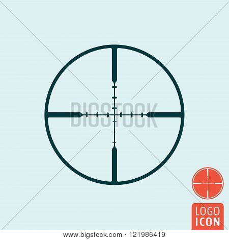 Target icon. Target symbol. Crosshair icon isolated. Reticle icon. Vector illustration