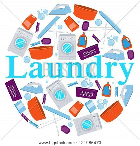 Round Poster laundry. Washing machine and laundry detergent. Vector illustration