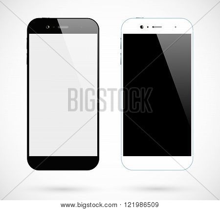 Smartphone isolated. Smartphones black and white front view. Mobile phone mockup. Vector illustration.