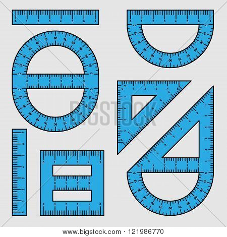 Set of different rulers and protractor of student