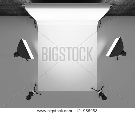 Empty photo studio with lighting equipment. Photo studio with white background. Studio lighting for photo shoots. 3d rendering.