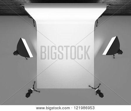 Empty photo studio with lighting equipment. Photo studio with white background. Studio lighting for photo shoots. 3d rendering.
