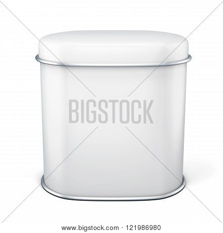 White Tin Can For Tea Isolated On White Background