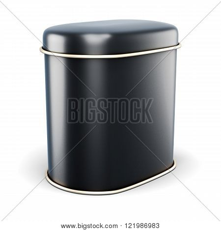 Black Metal Bank For Dry Products Isolated On White Background.