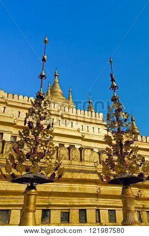 Golden temple. Shwezigon pagoda. Bagan. Myanmar (Burma)