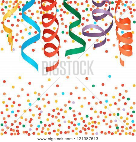 Carnival streamers and confetti background. Vector illustration.
