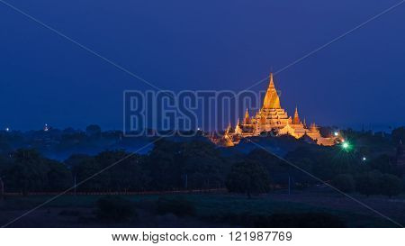 Ananda Pahto Temple in the night. Bagan. Myanmar