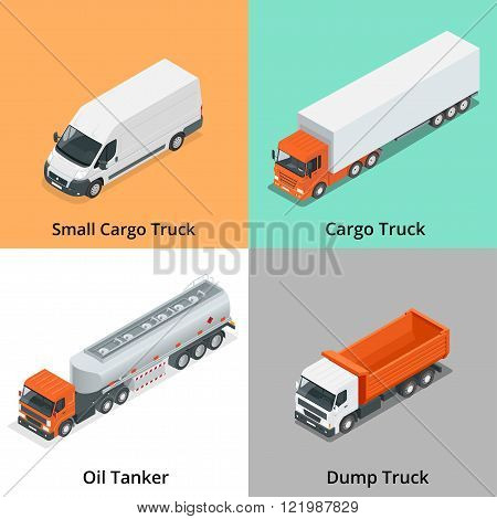 Cargo Truck set icons. Snow Plow Truck, Small Cargo Truck, Concrete Mixer, Dump Truck, Oil Tanker, G