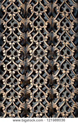 Decorative wooden carved teak grate. Myanmar (Burma)