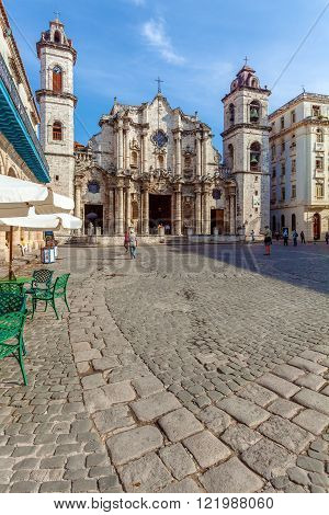Havana, Cuba - April 1, 2012: Cathedral Of The Virgin Mary Of The Immaculate Conception