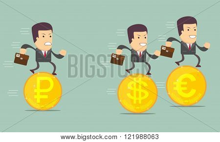 Business people on the coins run