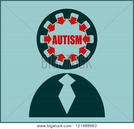 Icon with flat design elements of human mind process people brain thinking mental health and autism problem opportunities and mental transform. Modern vector pictogram concept.