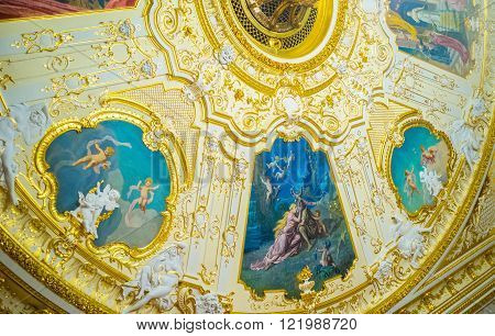 ODESSA UKRAINE - MAY 18 2015: The ceiling of the hall is decorated with paintings that depict scenes from the works of Shakespeare on May 18 in Odessa.