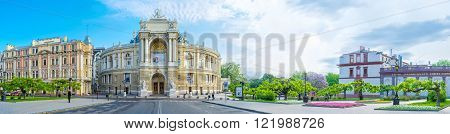 ODESSA UKRAINE - MAY 18 2015: Panoramic view on Lanzheronovskaya street with its main landmark - the Opera Theatre on May 18 in Odessa.