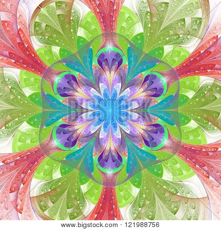 Multicolored fractal flower in stained glass window style. Element of design. You can use it for invitations notebook covers phone case postcards cards and so on. Artwork for creative design.