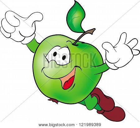 Vector illustration of flying funny cartoon hero green apple.