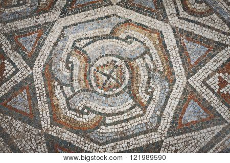 Mosaic pattern from floor near gymnasium at Sardis in Turkey