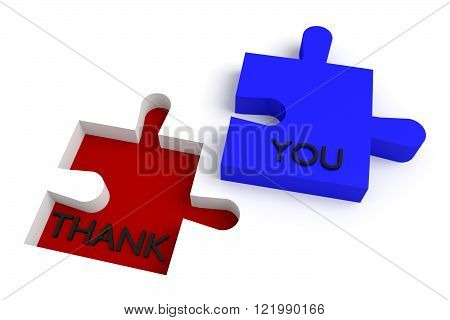 Missing puzzle piece, thank you, red and blue