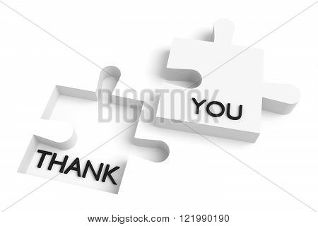 Missing puzzle piece, thank you, white jigsaw
