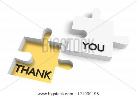 Missing puzzle piece thank you white and golden