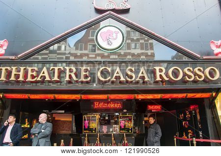 Amsterdam-April 30: Theatre Casa Rosso in Red Light District on Apripl 302015 in Amsterdam the Netherlands. The Amsterdam Red Light District is one of the most iconic places in all of Europe famous for its liberal laws cafes and ladies of the night.