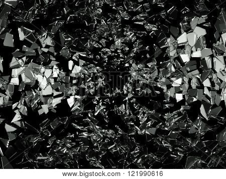 Shattered Pieces Of Glass On Black