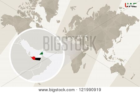 Zoom On United Arab Emirates Map And Flag. World Map.