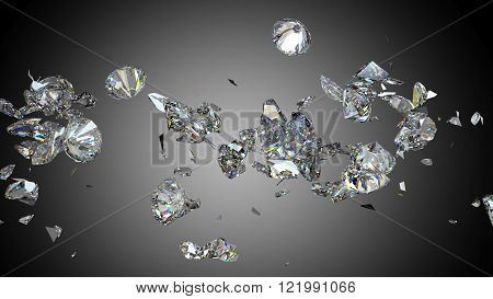 Shattered And Cracked Diamond Or Gemstones