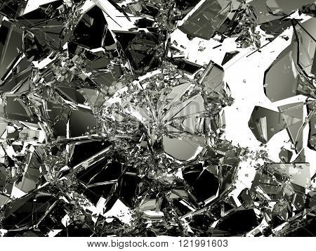 Demolished And Shattered Glass Over White