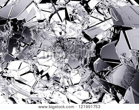 Many Pieces Of Shattered Glass Isolated