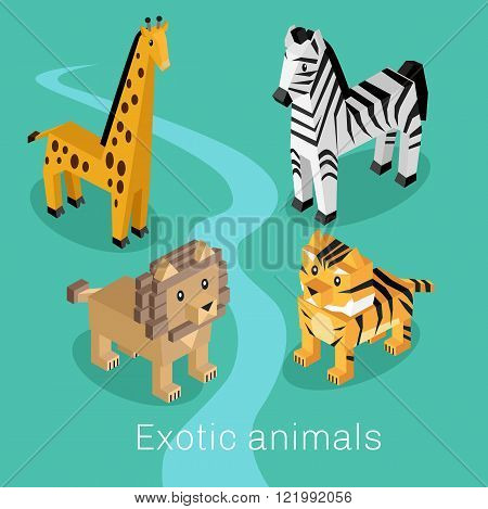 Exotic Animal Set Isometric 3d Design